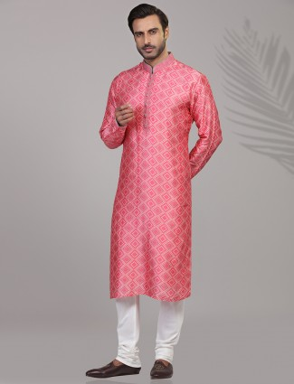 Silk bandhej printed festive wear kurta suit in pink