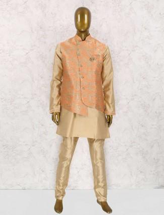 Silk beige and orange party waistcoat set