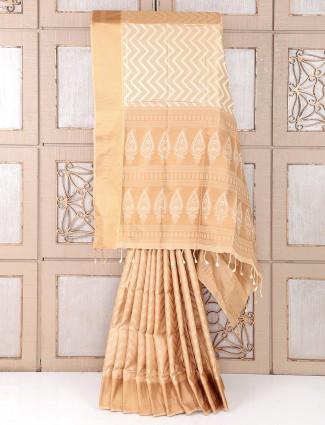 Silk beige color saree