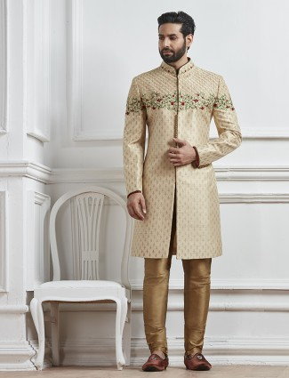 Silk beige indo western for mens wedding