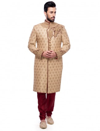 Silk beige maroon wedding wear sherwani