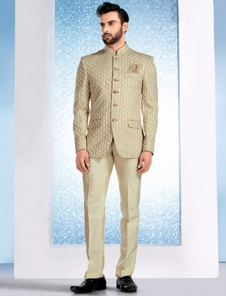 Silk beige wedding jodhpuri suit
