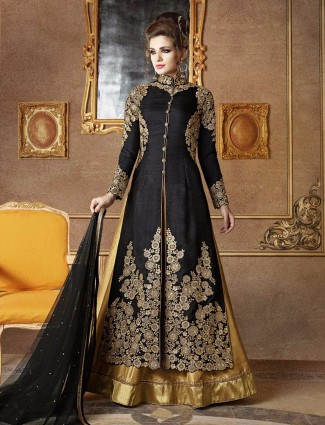 Silk black classy party wear semi stitched suit