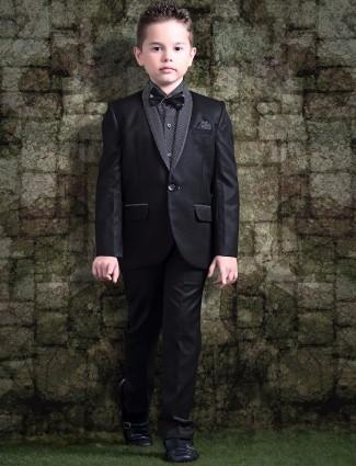 Silk black coat suit