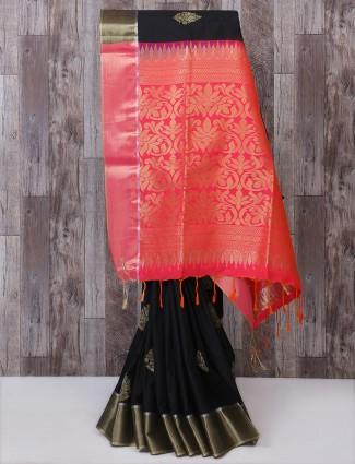 Silk black party wear saree