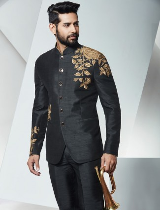 Silk black wedding wear jodhpuri suit