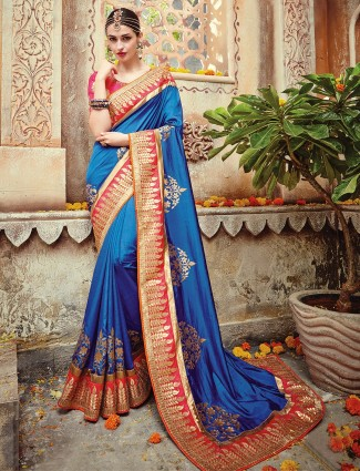 Silk blue beautiful saree