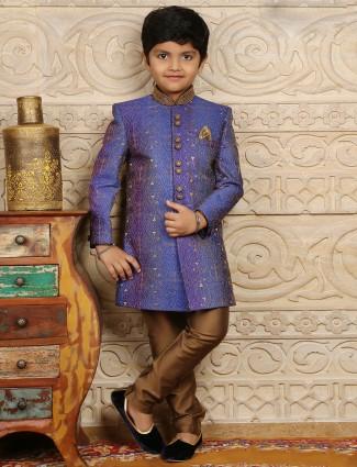 Silk blue boys wedding wear sherwani