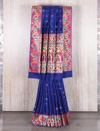 Silk blue classy designer saree