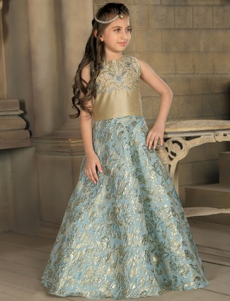 Silk blue party wear gown