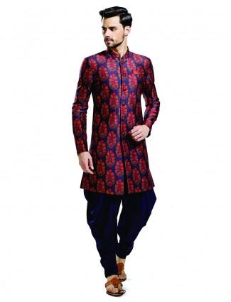 Silk blue wedding wear attractive kurta suit