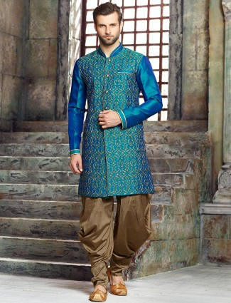 Silk blue wedding wear kurta suit