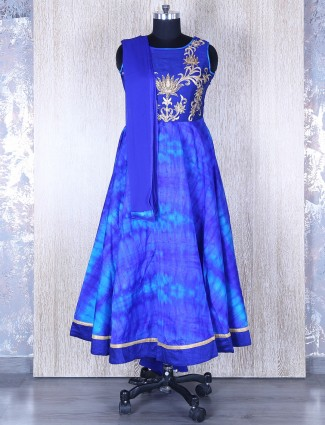Silk blue wonderful anarkali suit