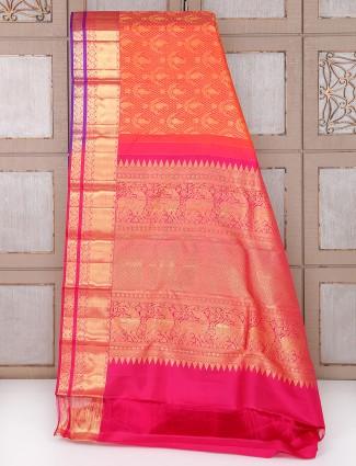 Kanchipuram pattu Silk bridal orange color saree