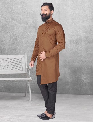 Silk brown color kurta suit