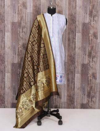 Silk brown designer dupatta