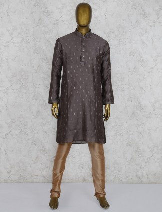 Silk brown hue festive or party wear kurta suit