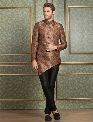 Silk Brown Semi Indo Western