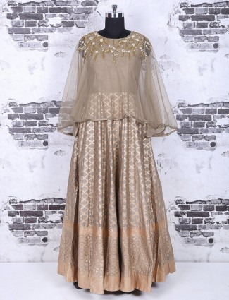 Silk cape style beige party wear anarkali suit