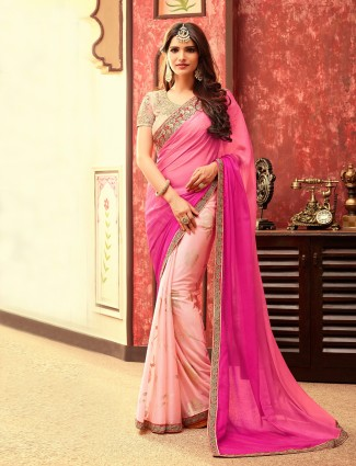 Silk chiffon pink peach half and half saree
