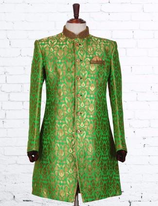 Silk classy green indo western