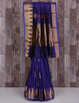 Silk classy wedding wear blue saree
