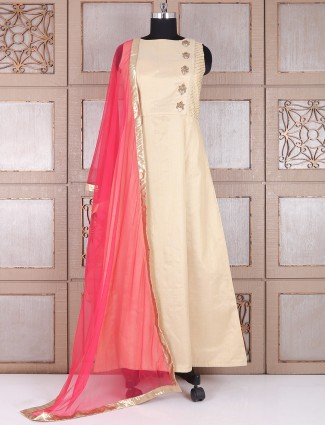 Silk cream and rani lehenga cum salwar suit