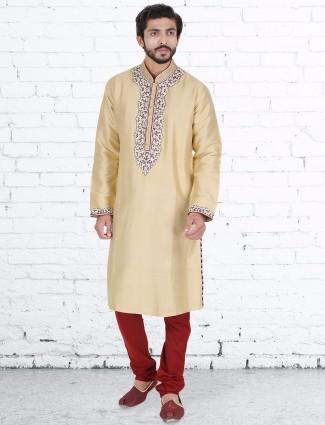 Silk cream classy kurta suit
