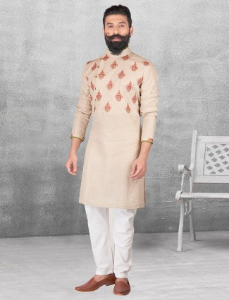 Silk cream color kurta suit for festive occasion