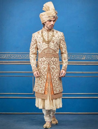 Silk cream designer layer style indian wedding sherwani