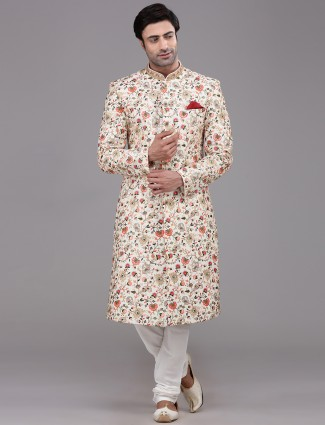 Silk cream designer wear sherwani