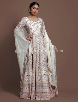 Silk cream floor length anarkali suit in wedding
