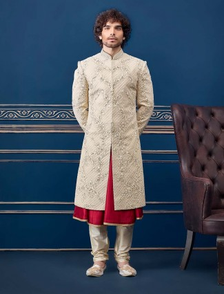 Silk cream groom sherwani