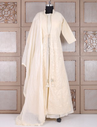 Silk cream party anarkali suit
