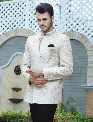 Silk cream party function thread weaving jodhpuri suit
