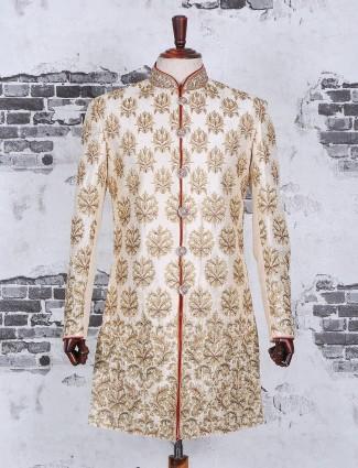 Silk cream wedding wear alluring indo western