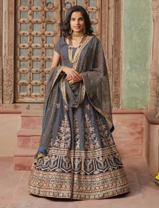 Silk dark grey color lehnega choli for wedding