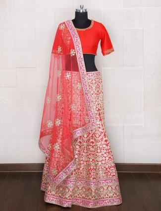 Silk designer bridal wear unstitched lehenga choli