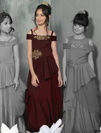 Silk designer maroon gown