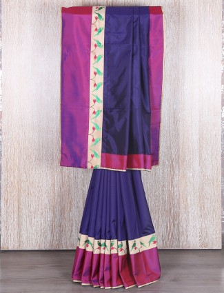 Silk designer purple party wear saree