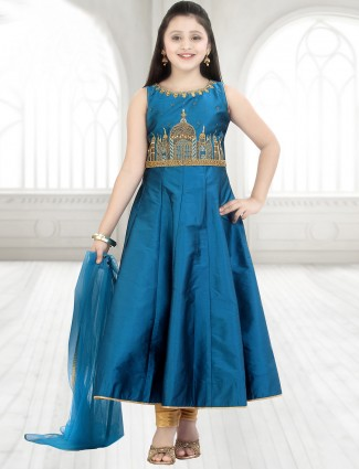 silk_dressy_blue_anarkali_suit_14853371273909_rama_compressed Punjabi Dress for Kids- 30 Best Punjabi Outfits for Children