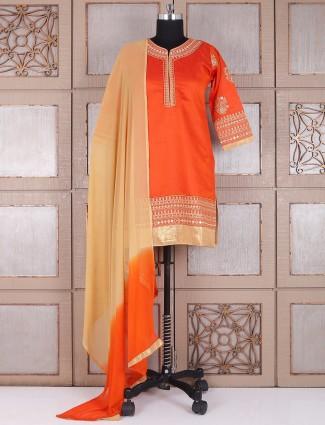 Silk dressy orange punjabi suit
