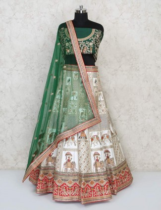 Silk exclusive semi stitched bridal wear lehenga choli in green and white