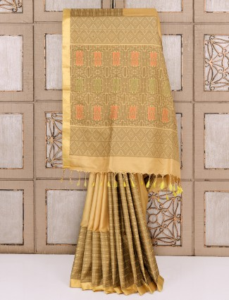 Silk fabric beige color party wear saree
