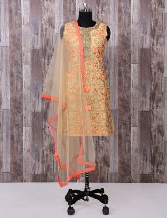 Silk fabric beige palazzo salwar suit