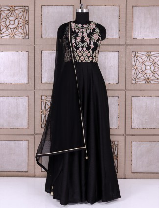 Silk fabric black anarkali suit