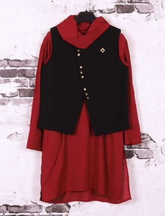 Silk fabric black and maroon boys waistcoat set