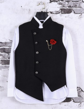 Silk fabric black and white color waistcoat set