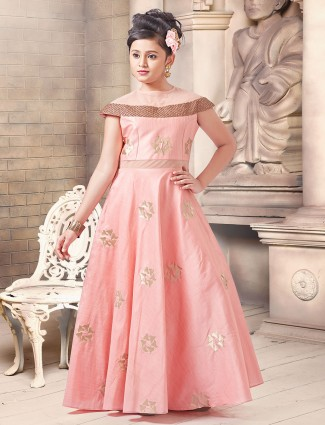 Silk fabric coral pink anarkali gown