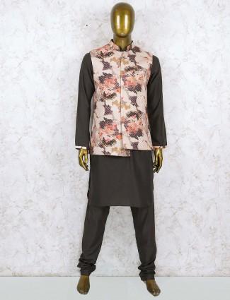 Silk fabric cream flower printed waistcoat set